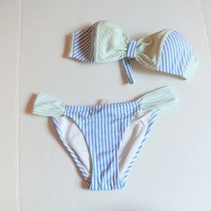 Victoria Secret Swim Bandeau blue stripes set S